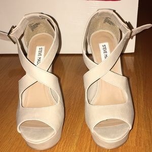 Never worn before nude Steve Madden wedge heels